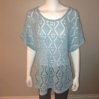 Leo & Nicole Sweater Size XL Womens Blue Open Knit Top Shirt Short Sleeve 33303