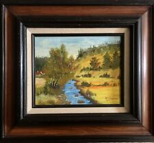 Vivid Landscape, River/Homestead/Early Fall, Signed R.Sommers, Solid Wood Frame