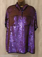 ASOS Colourful Iridescent Embellished Collared Pocket Party Shirt Top  UK 8 36