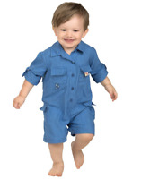Infant Fishing Shirt Romper One Piece Long Sleeve w/ Roll Up Tab BULL RED