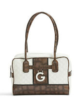 NEW G GY GUESS BEVERLEE QUILTED LOGO BOX SATCHEL BAG PURSE HANDBAG