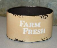 Distressed Metal oval container 'Farm Fresh' for your farmhouse kitchen decor