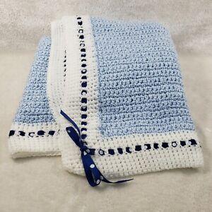 "Hand Knit Crochet Baby Blanket Afghan Blue Polka Dot Ribbon and Bows 42"" x 48"""