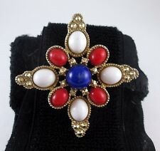 Vintage Sarah Coventry Red White and Blue Cabochon Maltese Cross Brooch Pin