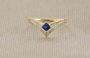 Dainty Blue Sapphire Gemstone Stack Ring Natural Pave Diamond Party Wear Ring