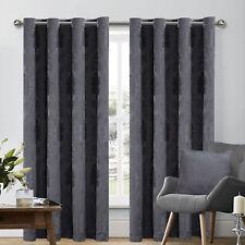 "Dark Grey Jacquard Curtains Fully Lined Eyelet Ring Top Pair 66""x72"" +Tie Backs"