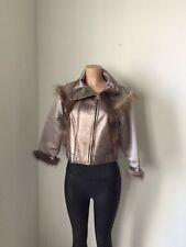 Oscar De La Renta Jacket leather fur wolverine Black Ruffle Coat Silk Women's 3K
