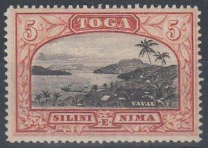 TONGA 1943 5/- VAVAU HARBOUR MINT (ID:243/D50938)