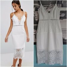 AMAZING RIVER ISLAND WHITE GUIPURE BODYCON STRAPPY MIDI DRESS SIZE UK 6