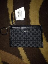 Coach 50473 Madison Needlepoint OP Art Mini Skinny Coin Purse Wallet Black Nwt