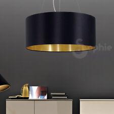 Lampadario sospensione Ø 53 design moderno paralume nero oro cromo sala pranzo