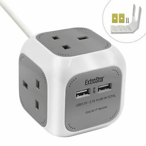 3 WAY CUBE SOCKET POWER WITH 3 2 USB PORTS 1.4M ELECTRIC EXTENSION LEAD GREY