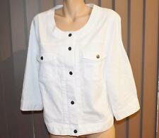 Katies Studio East White Denim Jacket Size 26 No Collar-3/4 Sleeve