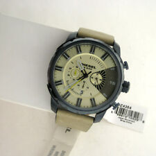 Diesel Analog Mens Overflow Watch DZ4354 Leather SS WR Chronograph Stainless