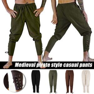 Mens Renaissance Medieval Viking Pirate Horseman Pants Trousers Drawstring Waist