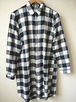 New Womens Ex Cameo Rose Black & White Check Brushed Longline Shirt Size 8-14