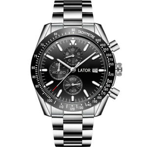 MENS LATOR CALIBRE CHRONOGRAPH WATCH BLACK DIAL STAINLESS STEEL STRAP