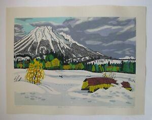 "Fumio Kitaoka - ""Spring is Coming (Mt. Daisen)"" - BEAUTIFUL 1982 Woodblock!"