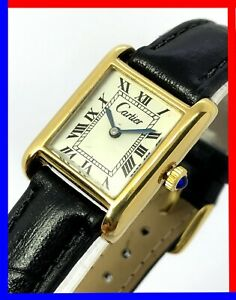 Vintage 70s Cartier tank ladies 21mm 18K gold electroplated manual wind serviced