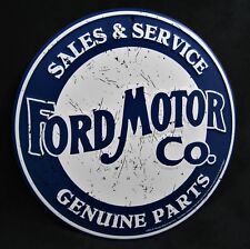FORD MOTOR CO Parts *US MADE* - Round Embossed Metal Sign - Man Cave Garage Bar