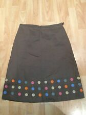 BODEN Ladies sz 10-12 R  Beige Brushed Cotton Spotty A-Line Skirt WINTER