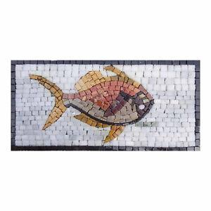 Strange Wing Fish Handmade Mosaic Picture Natural Stone Vivid Mosaic Wall Art