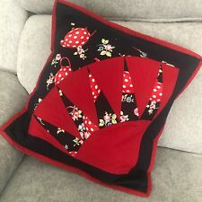Pieced/Patchwork Quilted Cushion Cover – Navy, Red Teapot Sunburst Design