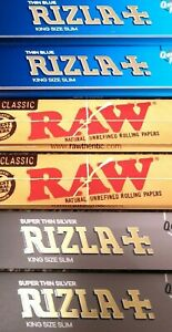 10 / 20 RIZLA SILVER / BLUE / NATURA RAW KING SIZE SLIM / REGULAR ROLLING PAPERS