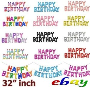 "32"" Happy Birthday Balloons Banner Foil Ballon Bunting Inflating Garlands"