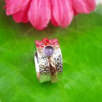 Amethyst Stone Solid 925 Sterling Silver Spinner Ring Meditation Ring Size s12