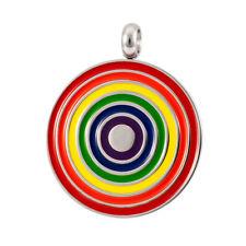 Circular Round Enamel Rainbow Stainless Steel Pride Pendant LGBT Gay Lesbian Bi
