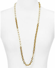 Ralph Lauren Gold Tone Link Chain and Faux Pearl Long Necklace $78 NEW