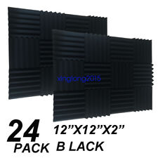 "12"" x 12"" x 2"" 24 Pack Black Acoustic Wedge Studio Soundproofing Foam Wall Tiles"