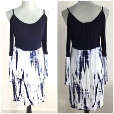 $88 FELICITY & COCO Size M Medium Cold Shoulder Tie Dye Dress Long Sleeves Blue