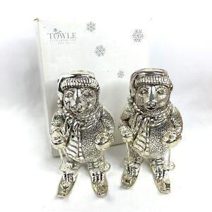 Vtg Towle Silversmiths Pair Of Polar Bear Skiing Silverplated Candleholders Nib