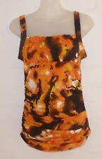 CKM Size S Orange Poly/Elastane Knit Strappy, Ruched Top