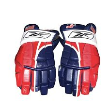 """New listing Reebok Team USA Used Sr. Size 14"""" Hockey Gloves FLAWS PLEASE SEE PICTURES"""