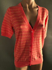 BNWT Womens Sz M 14 Mix Brand Coral & Peach Stripe Short Sleeve V Neck Cardigan