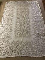 "Vintage Quaker Lace Ivory Tablecloth 67"" x 99"" B"