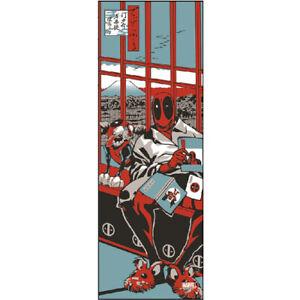 MARVEL Comics Dead Pool × Mount Fuji Japanese towel handkerchief  New!