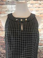 ANN TAYLOR Size 8 Navy Jacquard Sleeveless Dress