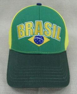WORLD SPORT Youth Unisex National Soccer Team Hat Cap Brazil Green Yellow NEW