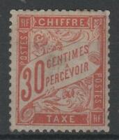 "FRANCE STAMP TIMBRE TAXE 34 "" 30c ROUGE-ORANGE "" NEUF x TB RARE SIGNE  P324"