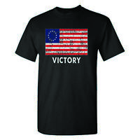 Betsy Ross American Flag Victory on a Black T Shirt