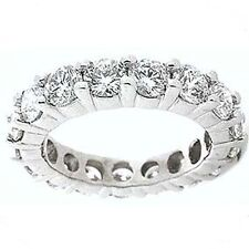 1.81 ct Round Diamond Ring Platinum Eternity Band Size 8 F VS 0.07 ct each