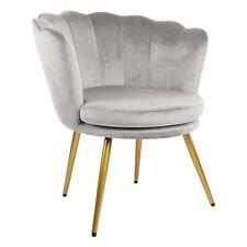 Genesis Flora Accent Chair Scallop Armchair Petal Back With Golden Legs - Grey
