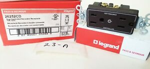 Lot of 10- Pass and Seymour 26252CD Dual Control Receptacle 15A 125V Brown