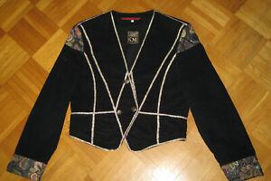 Ken Marsha Classic Bolero Brokat, Samt  Jacke schwarz gold Gr 36 38 S