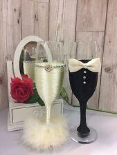 BRIDE and GROOM Mr & Mrs Champagne Flutes Wedding Glasses Ivory Black