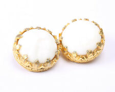 Gold Tone and Milk Glass Earrings, Vintage 1950s
